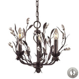 Elk Lighting 8058/3-LA 3 Light Chandelier in Deep Rust & Crystal Droplets