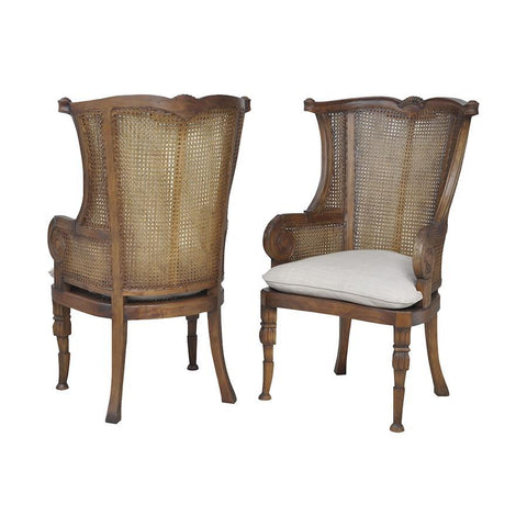 Elk Lighting Caned Wing Back Chair In New Signature Stain - Set of 2