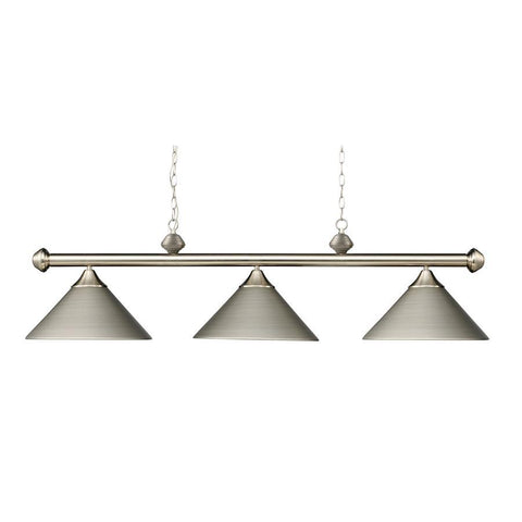 Elk Lighting Casual Traditions 3-Light Satin Nickel Billiard Lt W/Metal Shades