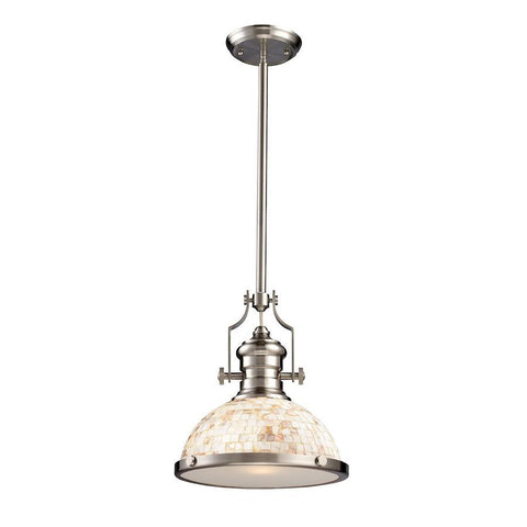 Elk Lighting Chadwick 1-Light Pendant Cappa Shell in Satin Nickel