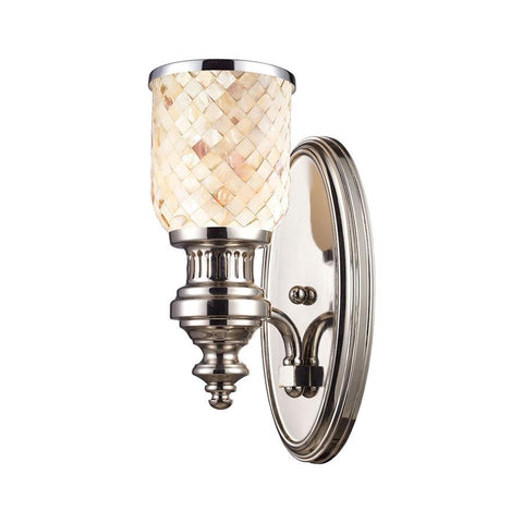 Elk Lighting Chadwick 1-Light Sconce Cappa Shell in Polished Nickel
