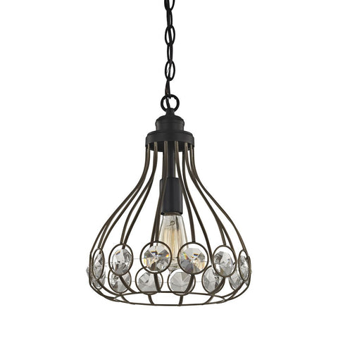 Elk Lighting Crystal Web 1 Light Penant in Bronze Gold and Matte Black with Clear Crystal - Includes Recessed Lig
