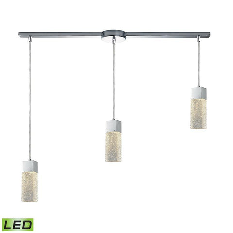 Elk Lighting Cubic Ice 3 Light Linear Bar Fixture in Polished Chrome with Solid Textured Glass