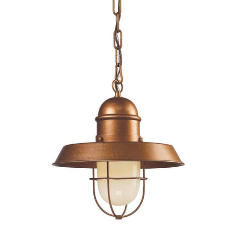 Elk Lighting Farmhouse 1-Light Pendant in Bellwether Copper