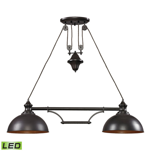 Elk Lighting Farmhouse 2 Light Island in Oiled Bronze - LED, 800 Lumens (1600 Lumens Total) with Full Scale Dimmi