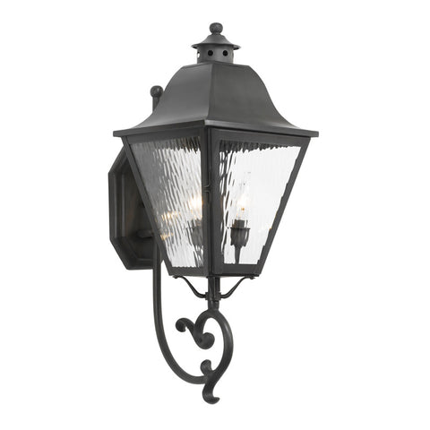 Elk Lighting High Falls 1107-C Outdoor Wall Lantern in Solid Brass & Charcoal Finish