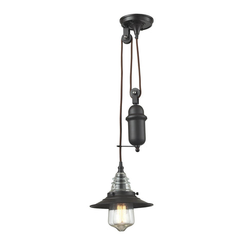 Elk Lighting Insulator Glass 1 Light Pendant In Oil Rubbed Bronze