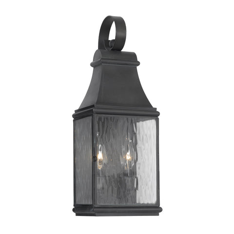 Elk Lighting Jefferson 702-C Outdoor Wall Lantern in Solid Brass & Charcoal Finish
