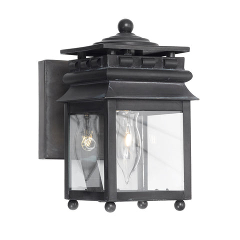 Elk Lighting Lancaster 801-C Outdoor Wall Lantern in Solid Brass & Charcoal Finish