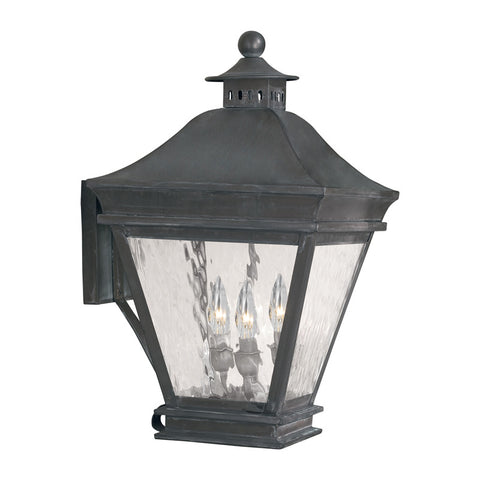 Elk Lighting Landings 5722-C Outdoor Wall Lantern in Solid Brass & Charcoal Finish
