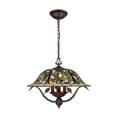 Elk Lighting Latham 3-Light Chandelier in Tiffany Bronze with Highlights