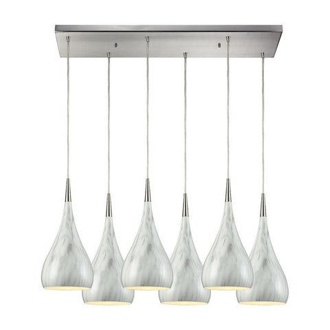 Elk Lighting Lindsey 6 Light Rectangle Fixture in Satin Nickel with Marble Print Shade