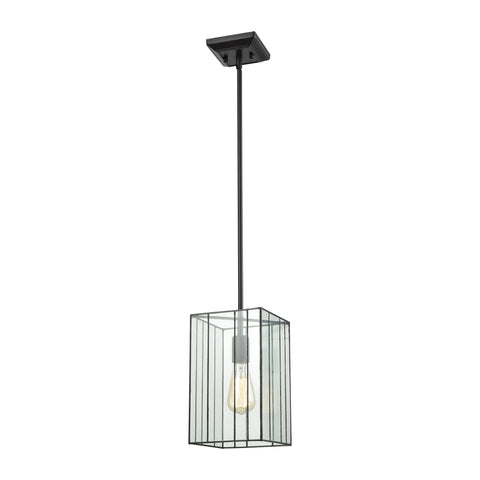 Elk Lighting Lucian 1 Light Pendant in Oil Rubbed Bronze with Clear Glass - Includes Recessed Lighting Kit