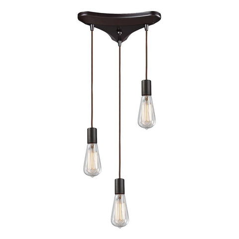 Elk Lighting Menlow Park 3-Light Pendant in Oiled Bronze