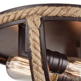 Elk Lighting Natural Rope 2-Light Flush Mount in Oil Rubbed Bronze