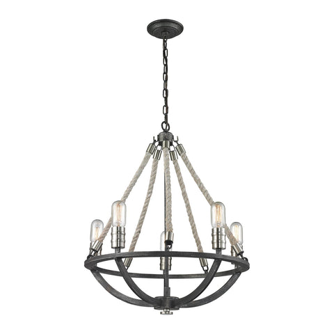 Elk Lighting Natural Rope 5 Light Chandelier In Silvered Graphite/Polished Nickel Accents
