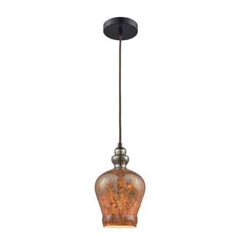 Elk Lighting Sojourn 1 Light Pendant in Oil Rubbed Bronze with Lava Toned Glass - Includes Recessed Lighting Kit