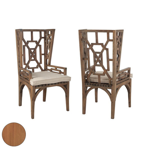 Elk Lighting Teak Wingback Chair in Euro Teak Oil (Set of 2)