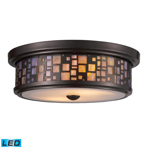 Elk Lighting Tiffany 2-Light Flush Mount in Oiled Bronze with Tea-stained Glass - Includes LED Bulb(s)