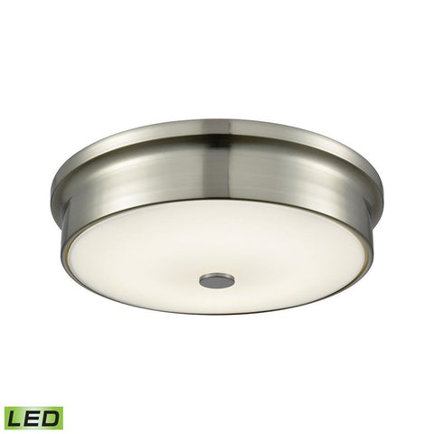 Elk Lighting Towne Integrated LED Round Flush Mount in Satin Nickel with Opal Glass - Small