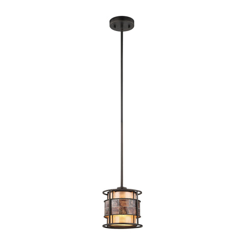 Elk Lighting Tremont 1 Light Pendant in Tiffany Bronze with Tan and Brown Mica - Includes Recessed Lighting Kit