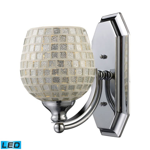 Elk Lighting Vanity 1 Light Vanity in Polished Chrome & Silver Mosaic Glass