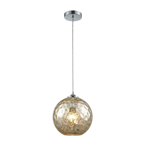Elk Lighting Watersphere 1 Light Pendant in Polished Chrome with Mercury Hammered Glass - Includes Recessed Light