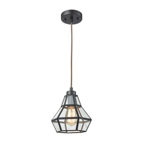 Elk Lighting Window Pane 1 Light Pendant in Oil Rubbed Bronze with Clear Glass - Includes Recessed Lighting Kit