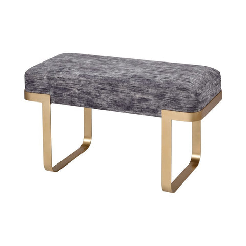 Elk London Town Bench in Grey Chenille and Gold