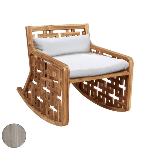 Elk Matt's Outdoor Rocking Chair with Set of 2 White Cushions