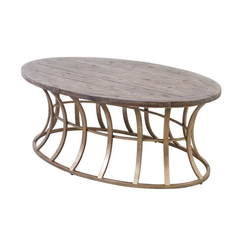 Elk Meditation Coffee Table in Soft Gold and Solid Grey Pine