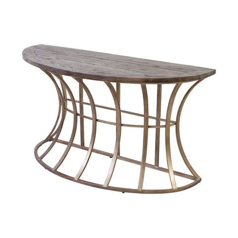 Elk Meditation Console Table in Soft Gold and Solid Grey Pine