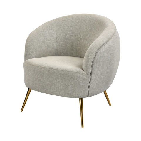 Elk Seeming Chair in Grey Linen and Brass