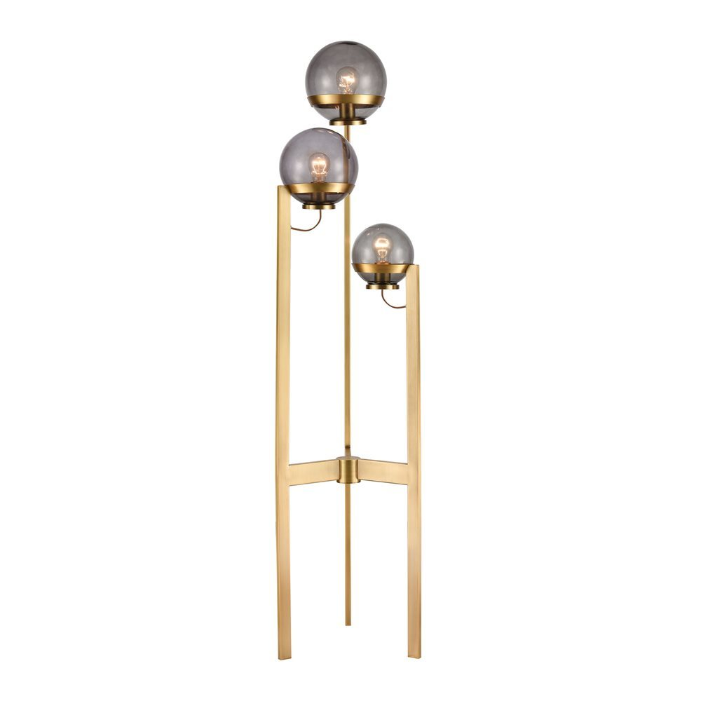 Elk South Water 3 Light Floor Lamp In Antique Brass And Smoked Glass