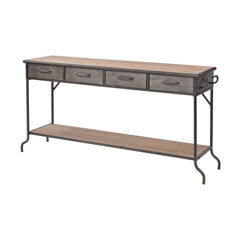 Elk Whitepark Bay Console in Antique Pewter and Natural Wood - Large