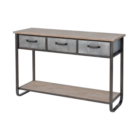 Elk Whitepark Bay Console in Natural Fir Wood and Galvanized Steel - Medium