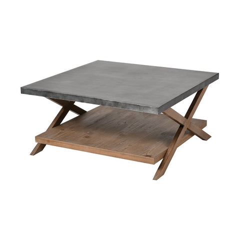 Elk Winterfell Coffee Table in Natural Wood and Antique Galvanized Steel