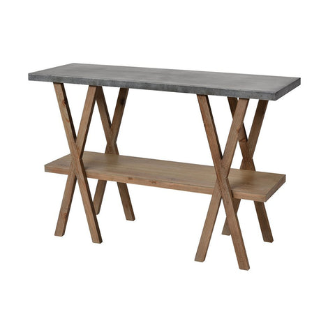 Elk Winterfell Console Table in Natural Wood and Antique Galvanized Steel
