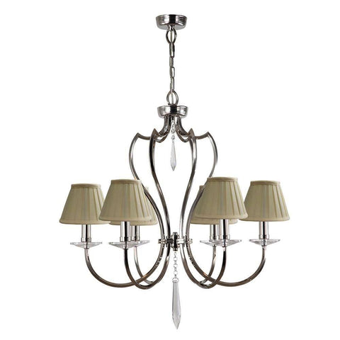 Elstead Lighting Pimlico 6lt Chandelier Polished Nickel
