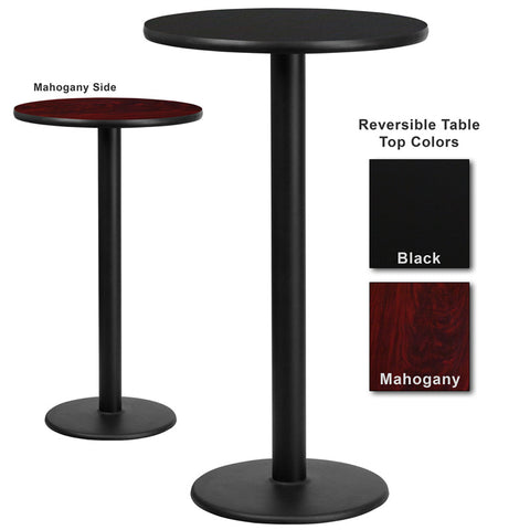 Flash Furniture 24 Inch Round Bar Table w/ Black or Mahogany Reversible Laminate Top