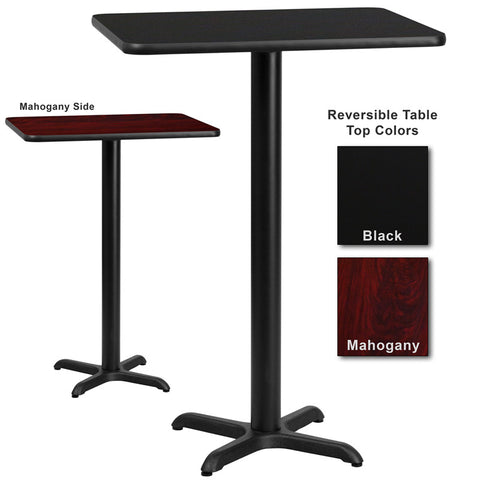 Flash Furniture 24 Inch x 30 Inch Rectangular Bar Table w/ Black or Mahogany Reversible Laminate Top