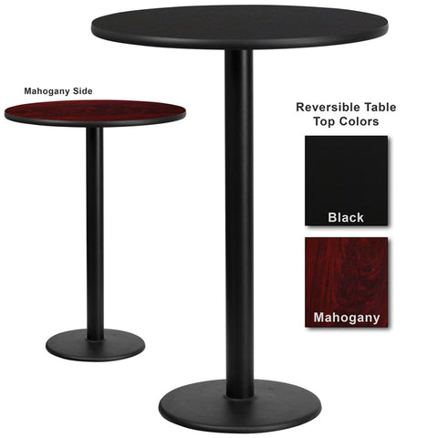 Flash Furniture 30 Inch Round Bar Table w/ Black or Mahogany Reversible Laminate Top