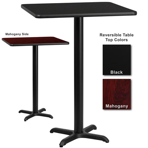 Flash Furniture 30 Inch Square Bar Table w/ Black or Mahogany Reversible Laminate Top