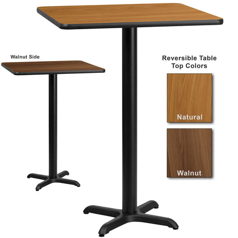 Flash Furniture 30 Inch Square Bar Table w/ Natural or Walnut Reversible Laminate Top