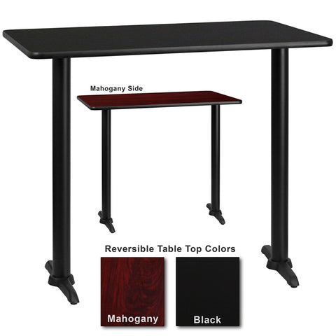 Flash Furniture 30 Inch x 60 Inch Rectangular Bar Table w/ Black or Mahogany Reversible Laminate Top