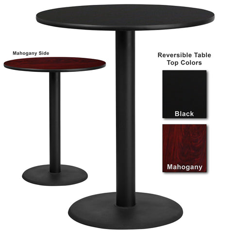 Flash Furniture 36 Inch Round Bar Table w/ Black or Mahogany Reversible Laminate Top