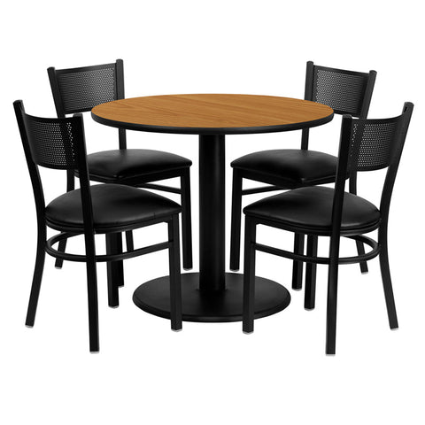 Flash Furniture 36 Inch Round Natural Laminate Table Set w/ 4 Grid Back Metal Chairs - Black Vinyl Seat - MD-0006-GG