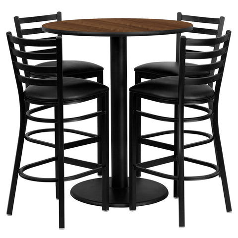 Flash Furniture 36 Inch Round Walnut Laminate Table Set w/ 4 Ladder Back Metal Bar Stools - Black Vinyl Seat - MD-0011-GG