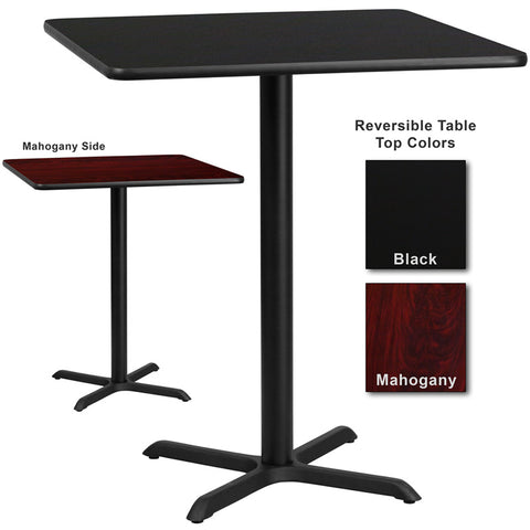 Flash Furniture 36 Inch Square Bar Table w/ Black or Mahogany Reversible Laminate Top