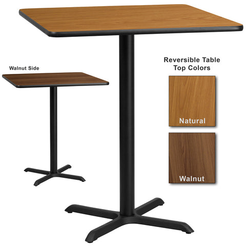 Flash Furniture 36 Inch Square Bar Table w/ Natural or Walnut Reversible Laminate Top